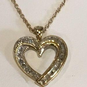 Diamond & Gold Heart Pendant /Necklace
